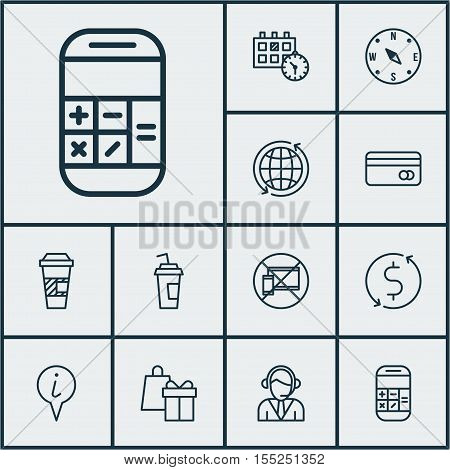 Set Of Airport Icons On Takeaway Coffee, Shopping And Appointment Topics. Editable Vector Illustrati