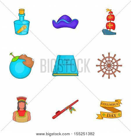 Search of mainland icons set. Cartoon illustration of 9 search of mainland vector icons for web