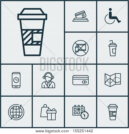 Set Of Travel Icons On Plastic Card, World And Call Duration Topics. Editable Vector Illustration. I