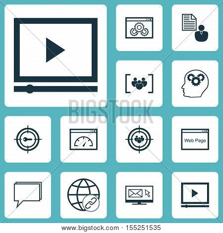 Set Of Seo Icons On Video Player, Keyword Marketing And Connectivity Topics. Editable Vector Illustr