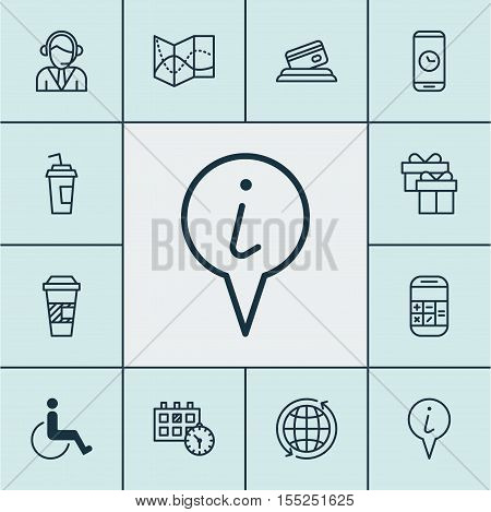 Set Of Airport Icons On Takeaway Coffee, Present And Road Map Topics. Editable Vector Illustration.