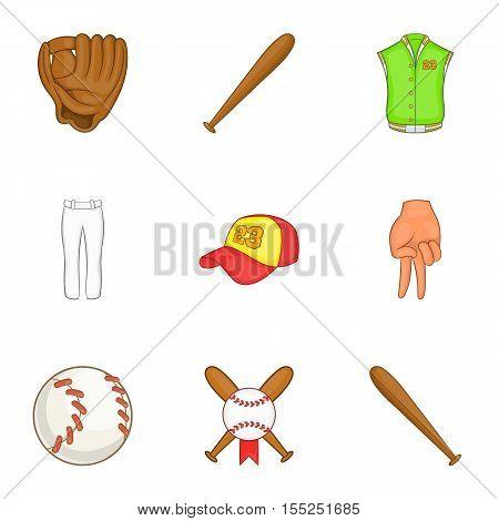 Championship with bat icons set. Cartoon illustration of 9 championship with bat vector icons for web
