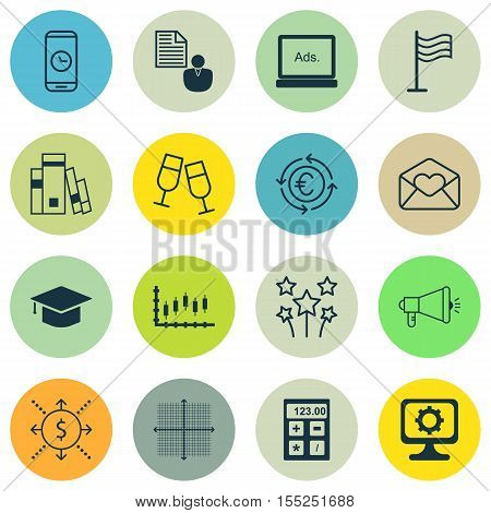 Set Of 16 Universal Editable Icons. Can Be Used For Web, Mobile And App Design. Includes Icons Such