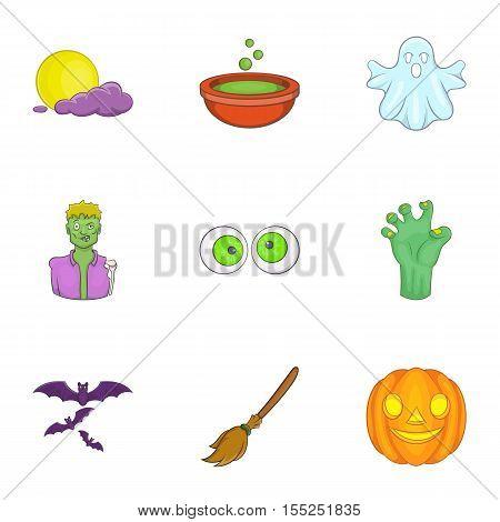 All hallows evening icons set. Cartoon illustration of 9 all hallows evening vector icons for web