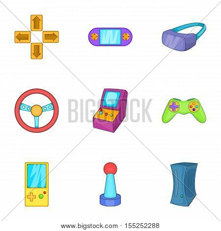 Video games icons set. Cartoon illustration of 9 video games vector icons for web
