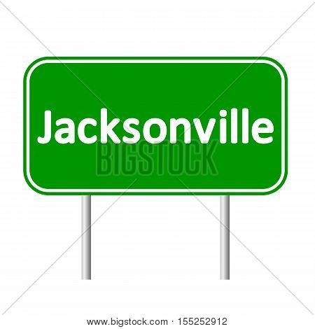 Jacksonville green road sign isolated on white background.