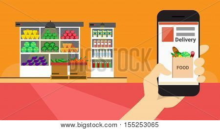 Hand Hold Cell Smart Phone Application Online Food Delivery Banner Flat Vector Illustration