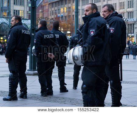Hamburg, Germany - November 04, 2016: Police watching demonstration in Hamburg, Germany.
