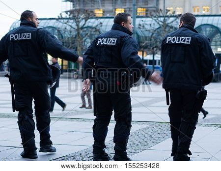 Hamburg, Germany - November 04, 2016: Polizei on alert in Hamburg, Germany.