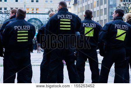 Hamburg, Germany - November 04, 2016: Policemen patrolling in Hamburg