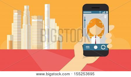 Hand Hold Cell Smart Phone Application Online Photo Editor Banner Flat Vector Illustration