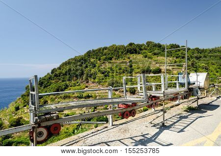 Monorail rack for grapes transport in Cinque Terre Liguria