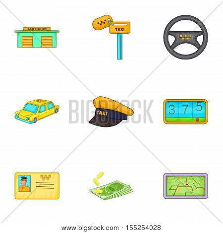 Taxi trip icons set. Cartoon illustration of 9 taxi trip vector icons for web