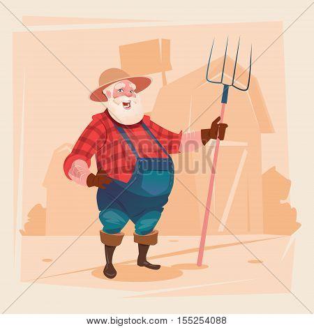 Farmer Working On Farm Hold Pitchfork Hay Harvest Flat Vector Illustration