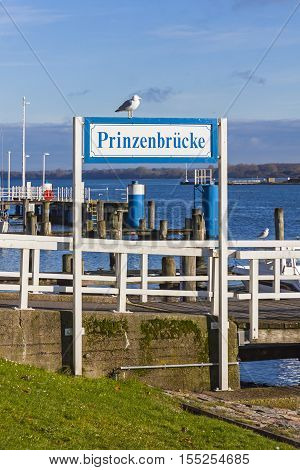 Prinzenbrucke (English: Princes Bridge) a part of an Old Town pier in Lubeck-Travemunde city Germany