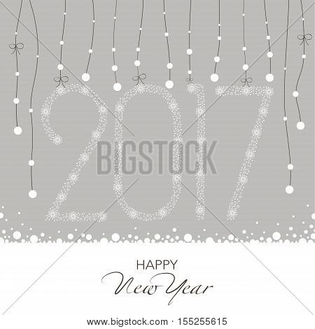 Cover design for the new year. Shows a garland with snow flakes and  garland of numbers 2,0,1,7  on the snowflakes on a gray background. The inscription happy new year dark color.
