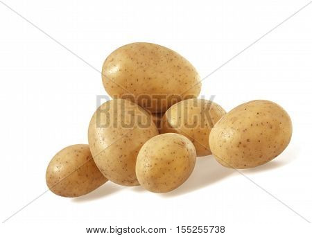 Heap of Potatoes isolated on white background.