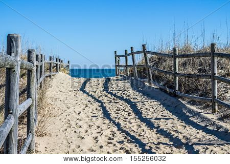 Empty footpath to beach at Sandbridge Beach in Virginia Beach, Virginia.