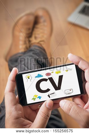 Cv - Curriculum Vitae  (job Interview Concept With Business Cv Resume)