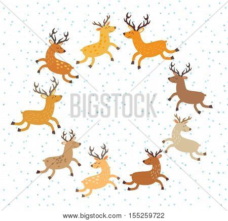 Floral Christmas wreath with deer. Hand drawn botanical wreath. Round frame for Christmas cards. Vector illustration isolated on whitecartoon style