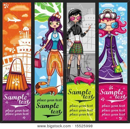 Urban shopping girls - banners set with copyspace (girls banners series)