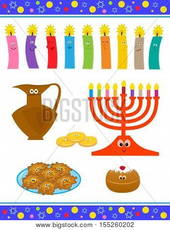 Cheerful cartoon set of Hanukkah symbols with cute faces. Eps10