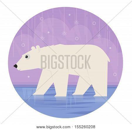 Cute clip art of a polar bear on a winter scene background. Eps10