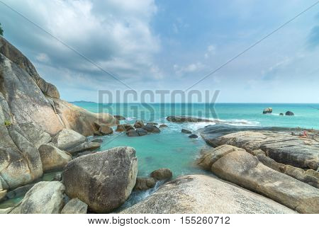 The grand father and mother rock landmark of Koh samui, Thailand.