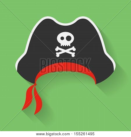 Vector Icon of Pirate Hat with a Jolly Roger symbol. Filibuster, corsair headdress with sign, emblem of crossed bones or crossbones and skull.. Vector illustration