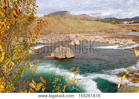 Fall on Animas River in Durango, Colorado