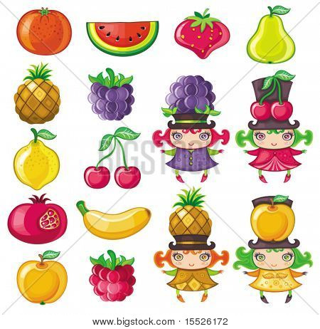 Different types of delicious fruits and cute fruity girls