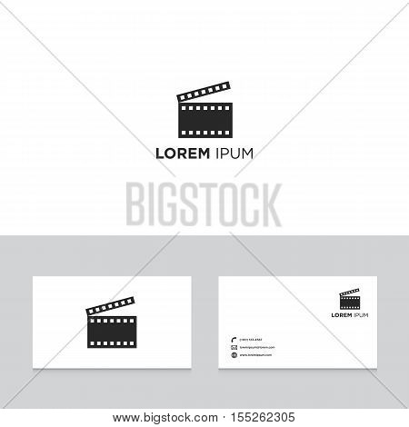 Logo design elements with business card template film movie slate abstract modern symbol vector illustration