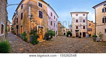 Cobbled square of Groznjan village panorama Istria Croatia