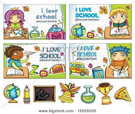 School banners with cute children and colorful icons