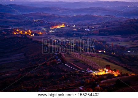 Evening view of villages and landscape of Prigorje region of Croatia