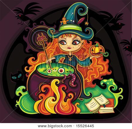 Vector illustration of young funny witch is cooking something poisonous in her cauldron, at Halloween night.