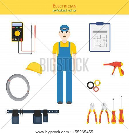 Professional tool set vector illustration. Electrician and electrical hand tools (screwdrivers cutters cable tie gun) multimeter electrical tape work belt helmet cable blueprint.