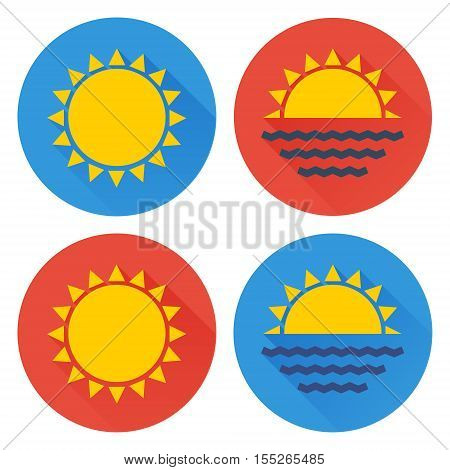 Flat sun icon set. Vector illustration of sun sunrise and sunset. Flat style sun icons isolated on white background