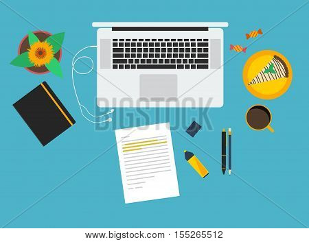 Workspace flat vector illustraion. Desk scenery with stationary objects laptop earphones flower cake sweets and coffee.