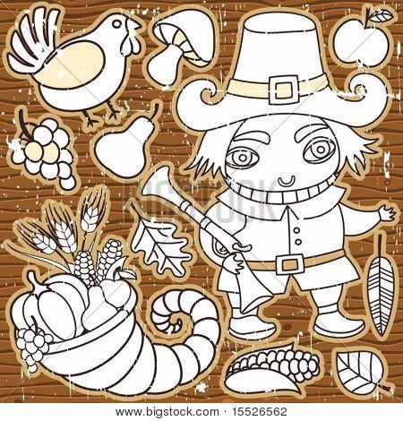 Grunge Thanksgiving elements on the wooden background. Pilgrim boy, turkey, cornucopia, vegetables, fruits and autumn leaves Thanksgiving series 3
