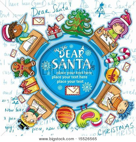 Happy children writing letters to Santa Claus. Christmas greeting card  2