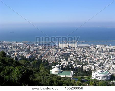View to Bahai Gardens and port in Haifa Israel