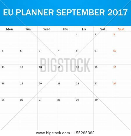 EU Planner blank for September 2017. Scheduler, agenda or diary template. Week starts on Monday