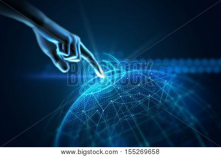 3D Illustration Of Hand Touch Gesture On Futuristic Technology Element