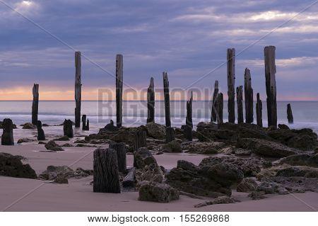 Jetty Ruins - Port Willunga, South Australia At Sunset