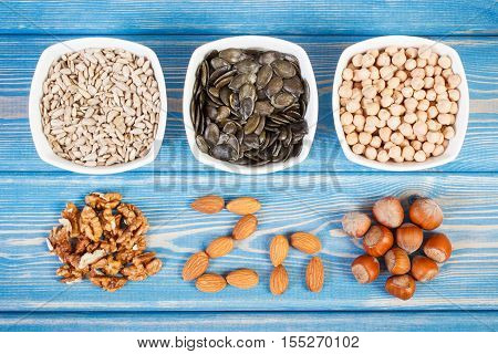 Inscription Zn ingredients or products containing zinc and dietary fiber natural sources of minerals healthy lifestyle and nutrition poster