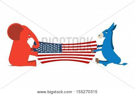 Elephant and Donkey divide USA flag. Political Party of America. Republicans against Democrats.