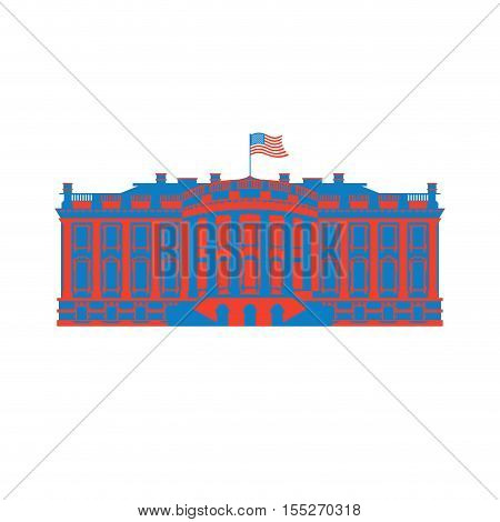 White House America colored icon. Residence of President USA. US government building. American political character