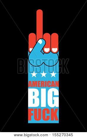 Big American fuck. USA Patriot sign. Symbol of aggression and anger. Hand shows bully character. Thumbs up. Bad gesture. Expression of emotions.