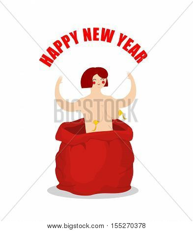 Stripper in red sack of Santa Claus. Adult New Year. Prostitute as gift. Congratulations for men.